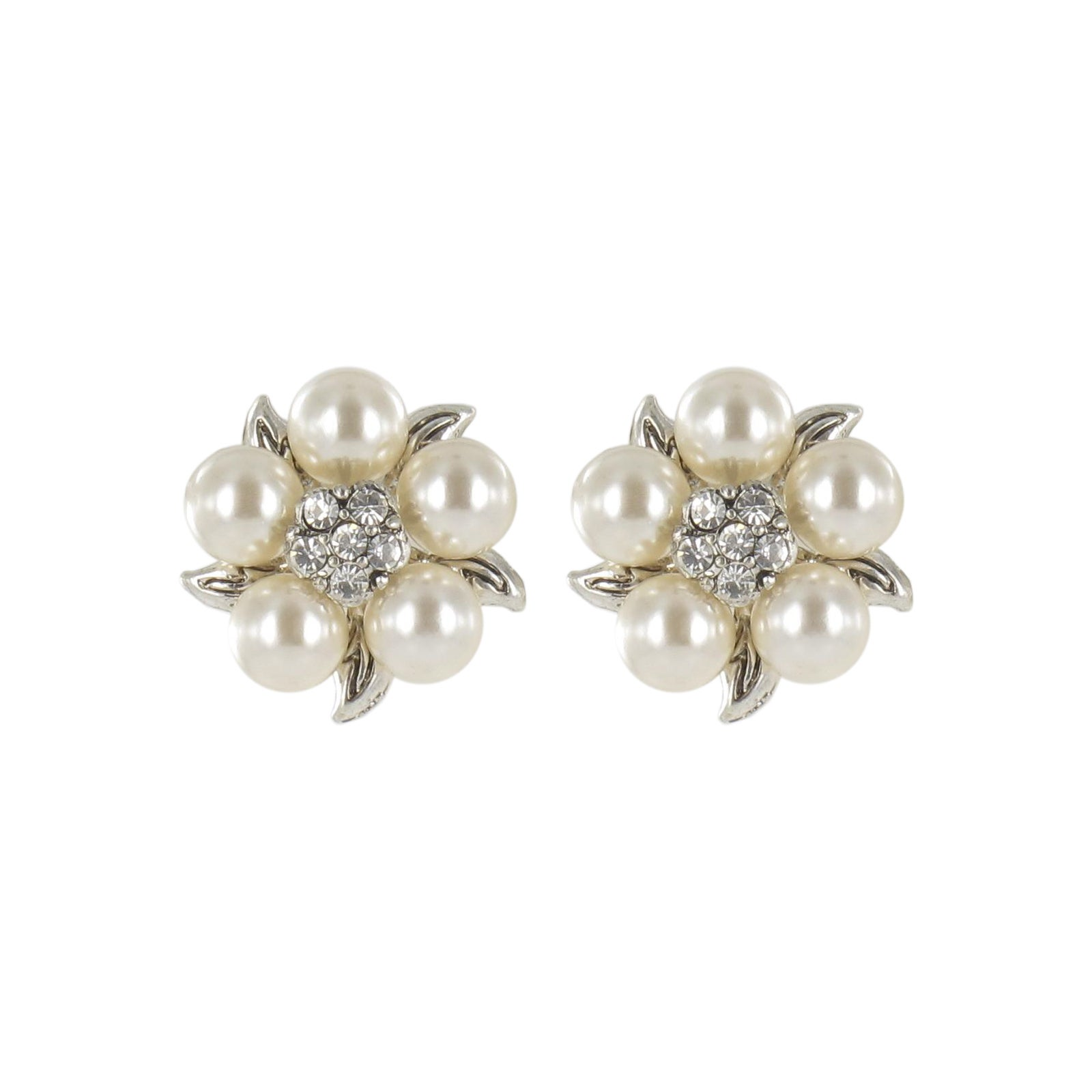 Roman Faux Cream Pearl Crystal Silvertone Flower Button Earrings
