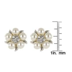 Roman Faux Cream Pearl Crystal Silvertone Flower Button Earrings - Thumbnail 2