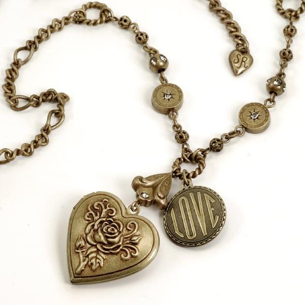Sweet Romance Pewter Vintage Love Token Locket Necklace