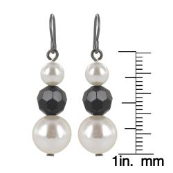 Roman Faux Cream Pearl Faceted Jet Crystal Dangle Earrings - Thumbnail 2