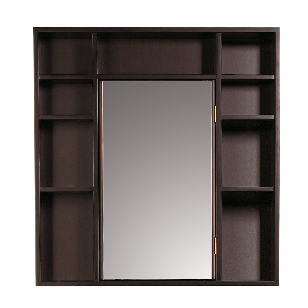 Red mahogany medicine cabinet double sided mirror free for Wood frame medicine cabinet