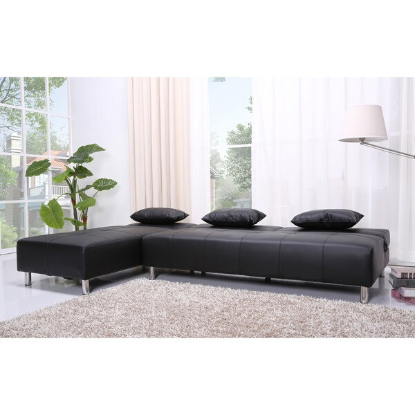Atlanta Black Faux Leather Convertible Sectional Sofa Bed Free