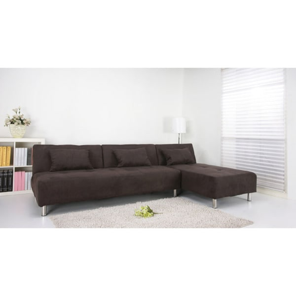 Atlanta chocolate convertible sectional sofa bed free for Sectional sofa bed overstock