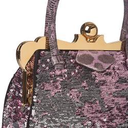 Miu Miu Pink/ Silver Sequined Fabric Handbag - Thumbnail 2
