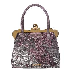 Miu Miu Pink/ Silver Sequined Fabric Handbag
