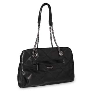 Miadora 'Kimberly' Black Quilted Shoulder Bag|https://ak1.ostkcdn.com/images/products/6836391/P14364295.jpg?impolicy=medium
