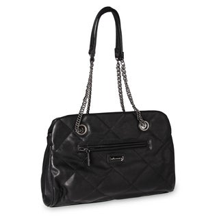 Miadora 'Kimberly' Black Quilted Shoulder Bag
