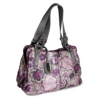 Miadora 'Alli' Grey Floral Satchel