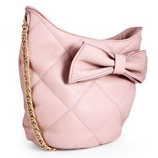 Miadora 'Brenda' Blush Quilted Bow Shoulder Bag