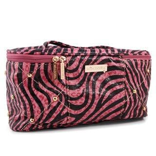 Miadora Gigi Pink Studded Zebra Cosmetic Case