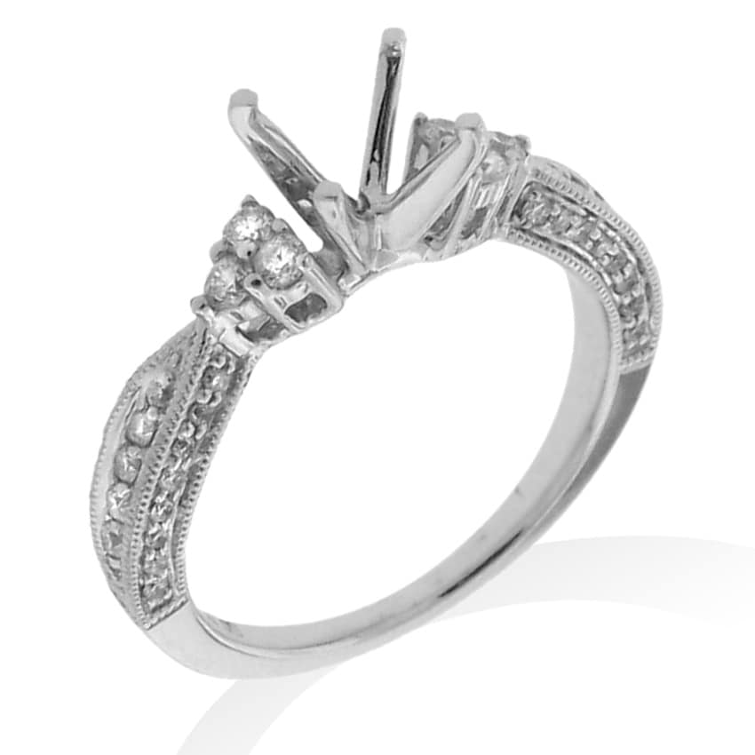 14k White Gold 1/3ct TDW Semi-mount Diamond Engagement Ring (G-H, SI-1/SI-2) - Thumbnail 0