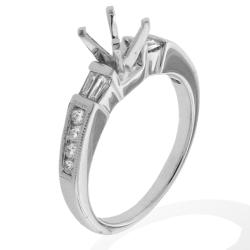 14k White Gold 1/3ct TDW Pave-set Diamond Round Engagement Ring (G-H, SI-1/SI-2)