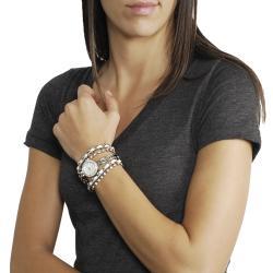 Geneva Platinum Women's Rhinestone-studded Wrap-around Stainless Steel Watch - Thumbnail 2