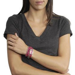 Geneva Platinum Women's Rhinestone Chain Studded Wrap-around Watch