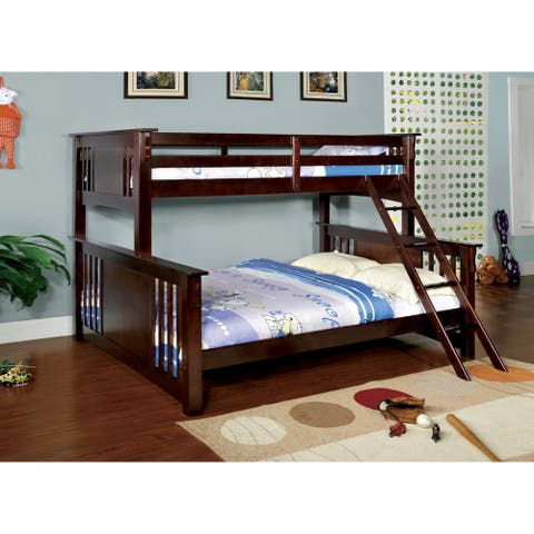 Furniture of America Cude Walnut Twin/Queen 2-piece Bunk Bed Set