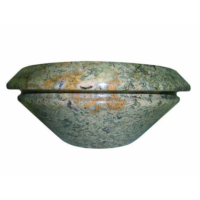 Round Double Lip Fossil Marble Vessel