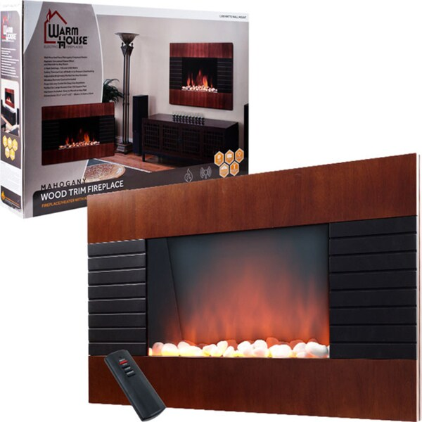 Warm House Mahogany Trim Fireplace 1500 Watt Heater Free