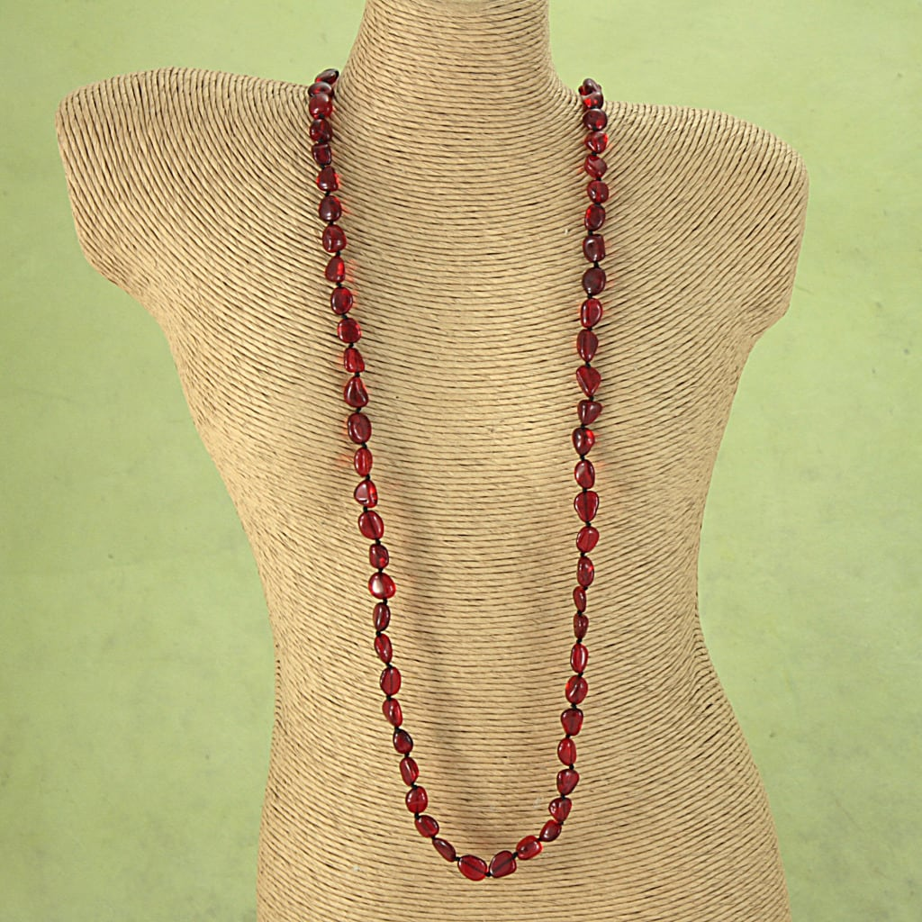 Handcrafted Ruby-Red Baltic-Amber-Bead Freeform Necklace (Lithuania)