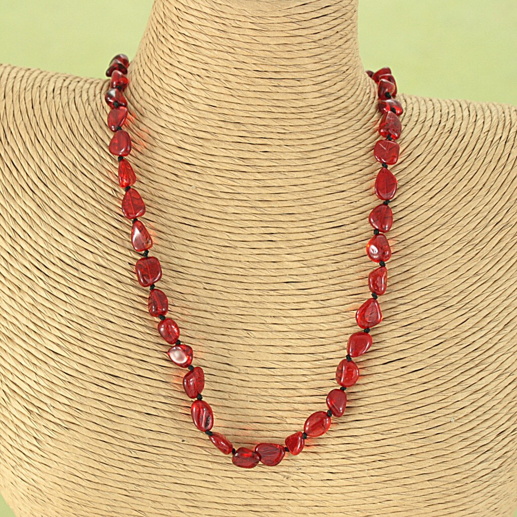 Handcrafted Ruby Red Baltic Amber Freeform Beads Necklace (Lithuania)