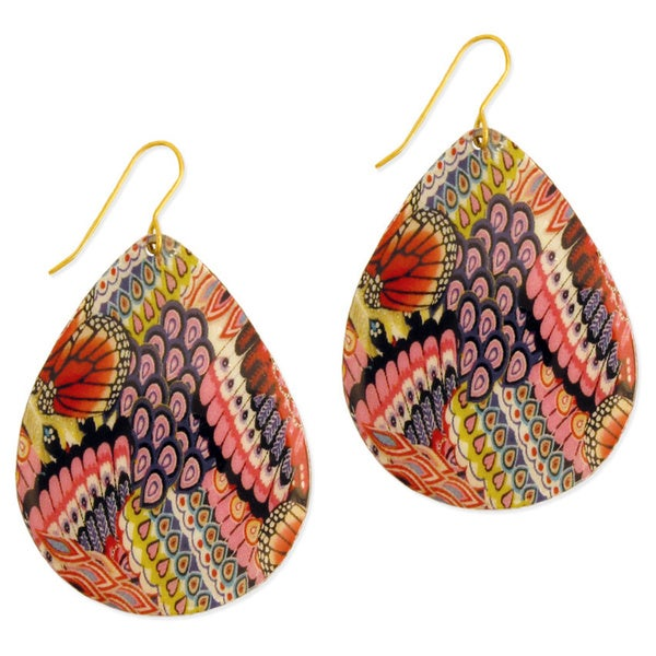 Handmade Goldtone Bright Enamel Teardrop Earrings (India)