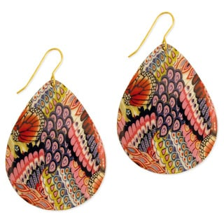 Handcrafted Goldtone Bright Enamel Teardrop Earrings (India)
