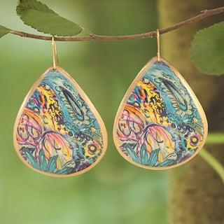 Handcrafted Goldtone & Blue Bright Enamel Teardrop Earrings (India)