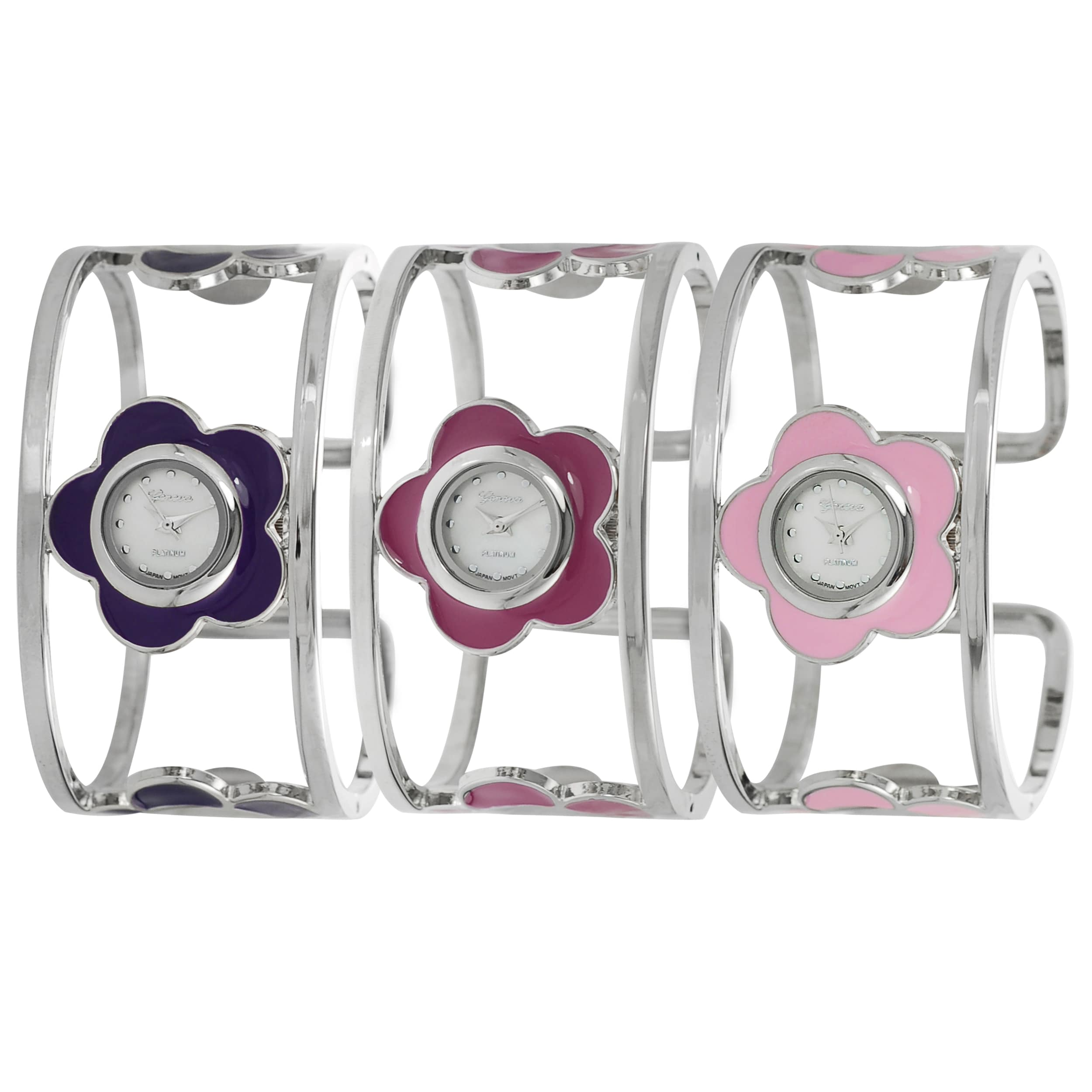 Geneva Platinum Women's Hinged Cuff Stainless-Steel Flower Watch