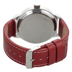 Geneva Platinum Women's White Stitching Strap Watch - Thumbnail 1
