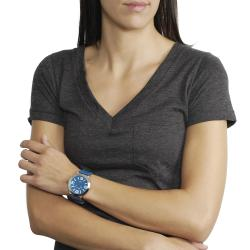 Geneva Platinum Women's White Stitching Strap Watch - Thumbnail 2