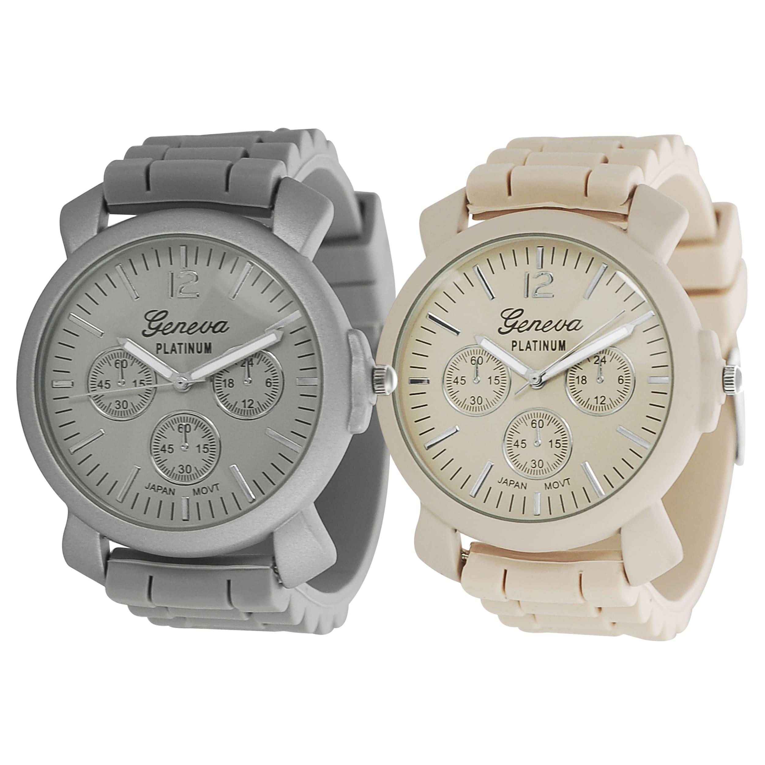 Geneva Platinum Women's Chronograph-Style Japanese-Quartz Silicone Watch