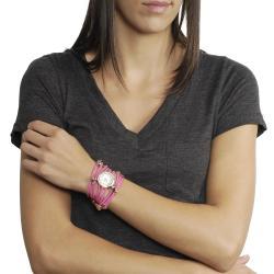 Geneva Platinum Women's Rhinestone Multi-strand Wrap-around Watch - Thumbnail 2