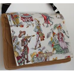 Handmade Medium Tan Day of the Dead Zippered Canvas Messenger Bag