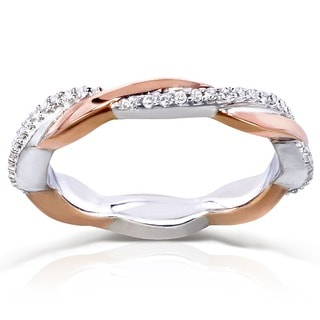 Annello 10k Gold 1/6ct TDW Two Tone Stackable Diamond Ring