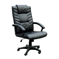 Chesterfield Black Split Leather Match Pneumatic Lift Office Chair