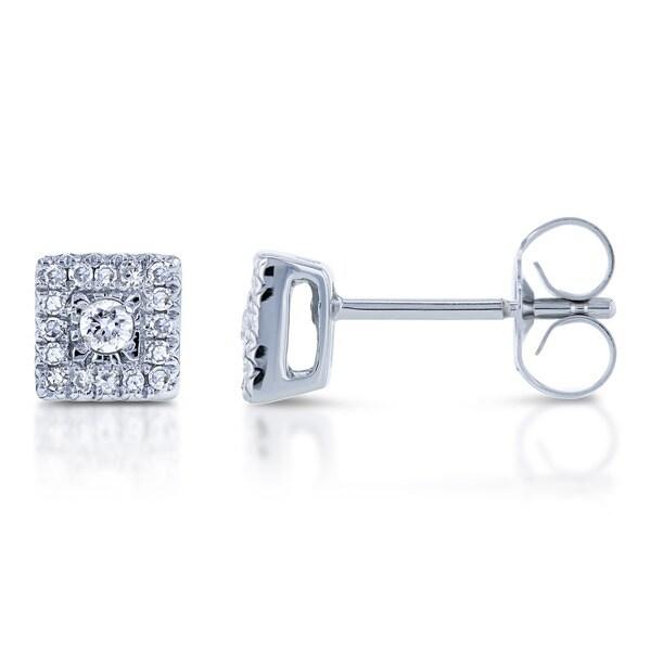 Annello by Kobelli 10k White Gold 1/6ct TDW Multi Stone Princess Diamond Earrings (H-I, I