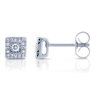 Annello 10k White Gold 1/6ct TDW Multi Stone Princess Diamond Earrings (H-I, I1-I2)