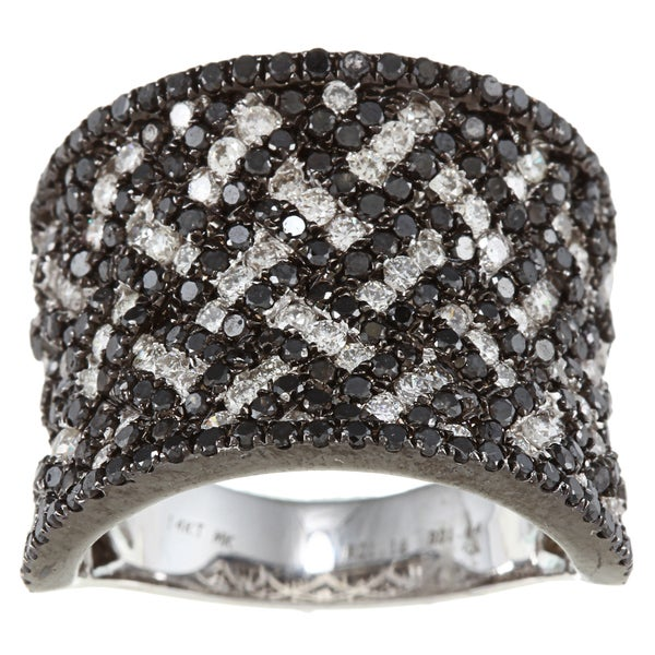Victoria Kay 14k White Gold 2 7/8ct TDW Black and White Woven Diamond Ring