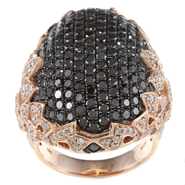 14k Rose Gold 3 1/6ct TDW Black and White Pave Fashion Diamond Ring (HI, I1)