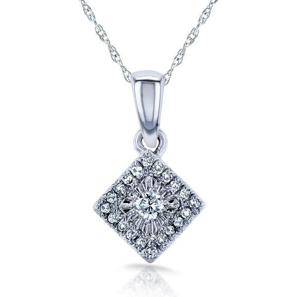 Annello by Kobelli 10k White Gold 1/10ct TDW Multi-stone Princess Diamond Necklace