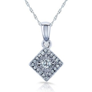 Annello by Kobelli 10k/14k White Gold 1/10ct TDW Multi-stone Princess Diamond Necklace