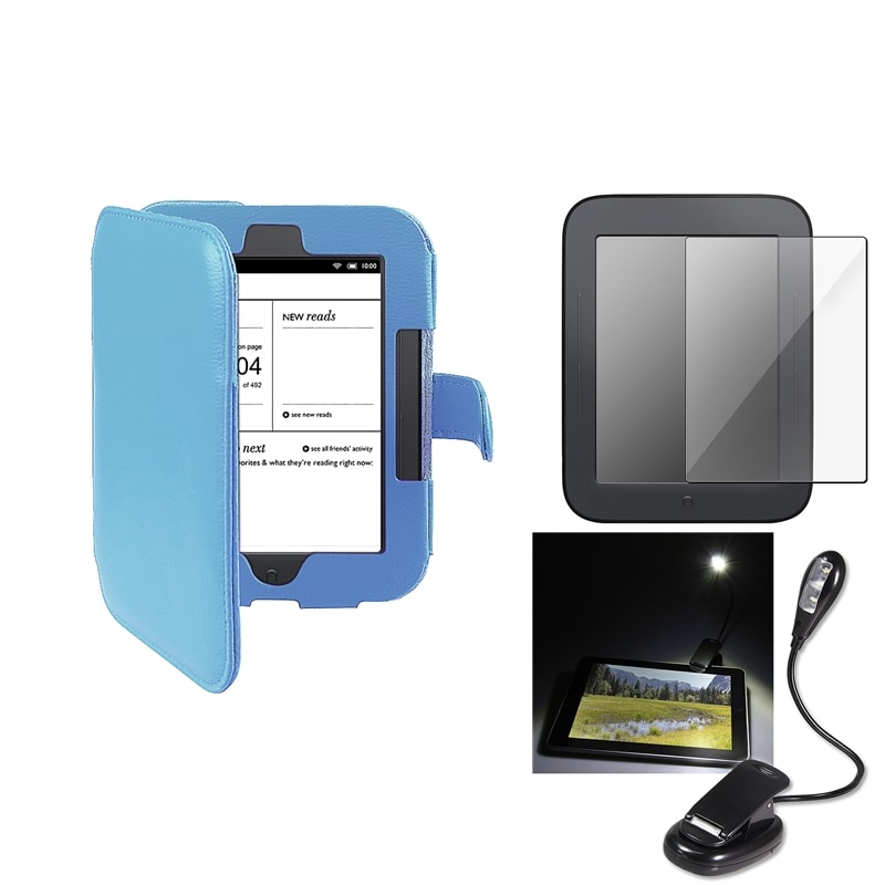 INSTEN Blue Phone Case Cover/ Screen Protector/ LED Light 3-piece Set for Barnes & Noble Nook 2