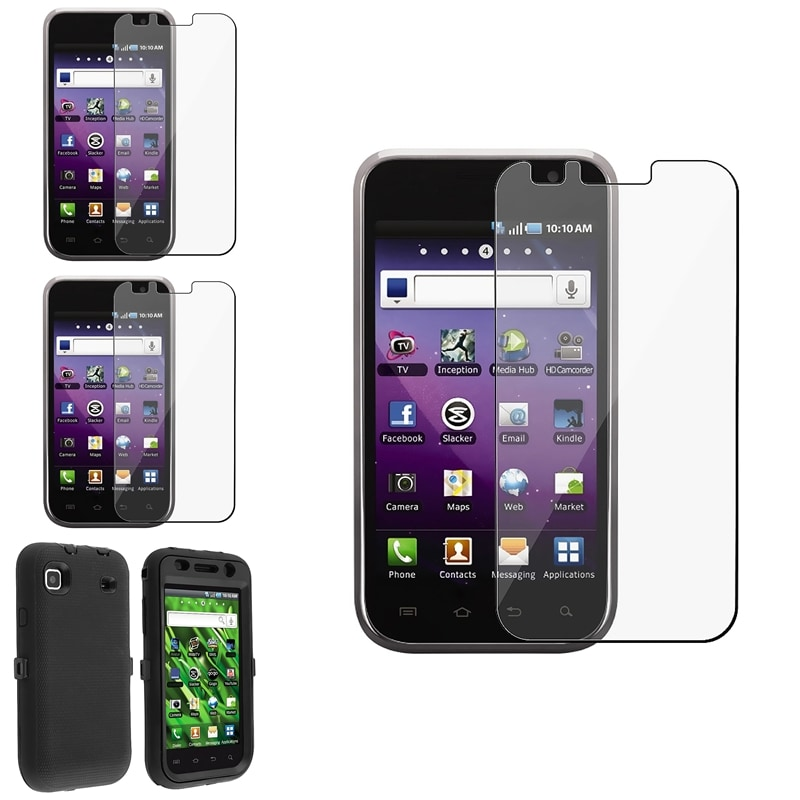 INSTEN Black Hybrid Phone Case Cover/ Screen Protector for Samsung Galaxy S 4G T959v