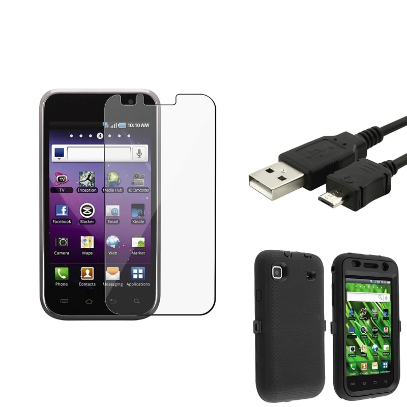 INSTEN Hybrid Phone Case Cover/ USB Cable/ LCD Protector for Samsung Galaxy S 4G T959v