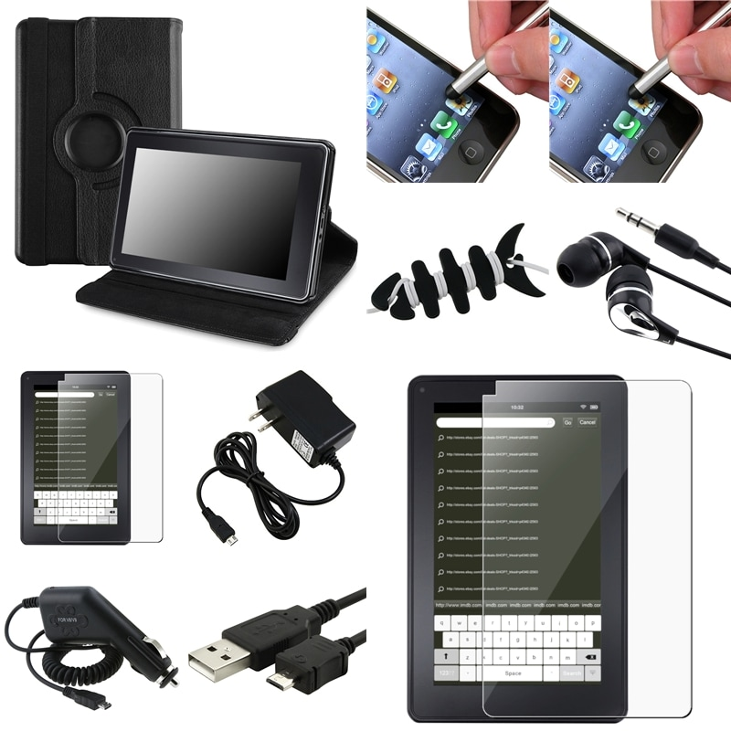 Black Leather Swivel Case/Chargers/Cable/Headset for Amazon Kindle Fire