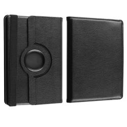 Black Leather Swivel Case/Chargers/Cable/Headset for Amazon Kindle Fire - Thumbnail 2