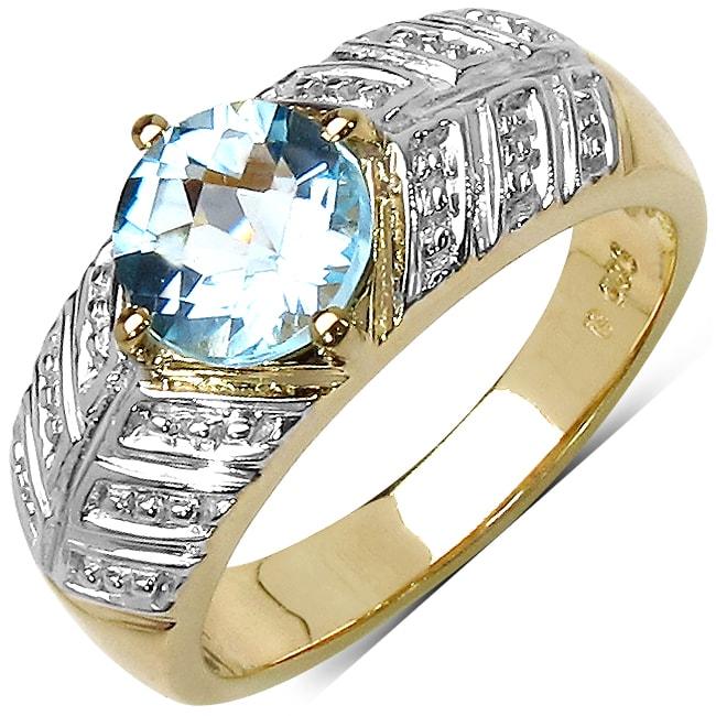 Malaika Gold Over Silver Blue Topaz Ring