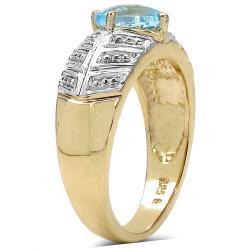 Malaika Gold Over Silver Blue Topaz Ring - Thumbnail 1