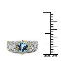 Malaika Gold Over Silver Blue Topaz Ring - Thumbnail 2