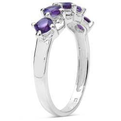 Malaika Sterling Silver 3/4ct Amethyst Ring - Thumbnail 1
