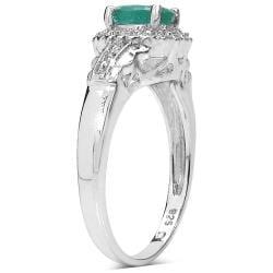 Malaika Sterling Silver Emerald and White Topaz Ring - Thumbnail 1